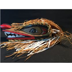 JOHN JOHNSTON, HAND CARVED AND PAINTED WOLF MASK, TAKAYA CLAN, WITH CEDAR BARK, LEATHER AND