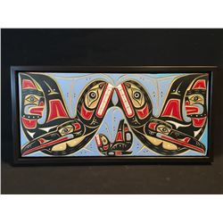 LAWRENCE SCOW, HAND CARVED AND PAINTED KILLER WHALE AND MAN DESIGN PANEL, FRAMED, SIGNED ON BACK BY