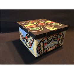 "LAWRENCE SCOW HAND CARVED AND PAINTED BENT WOOD BOX, TITLED ""KILLER WHALES AND THUNDERBIRD"", SIGNED"