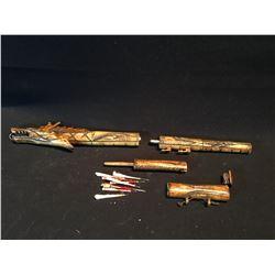 ANTIQUE BONE CARVED DRAGON DESIGN BLOW DART SHOOTER, 23.5'' LONG