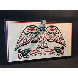 HAND PAINTED WOODEN PANEL WITH FIRST NATIONS DESIGN OF A BALD EAGLE, UNSIGNED, 41'' WIDE