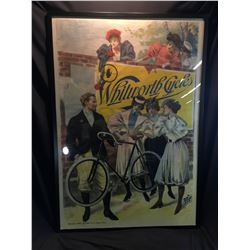 """WHITWORTH CYCLES"" VERY LARGE, FRAMED VINTAGE FRENCH ADVERTISING POSTER, 87 1/2'' X 65''"