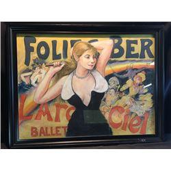 SHELDON C. SCHONEBERG FRAMED ORIGINAL PASTEL, FOLIES-BERGERE, L'ARC EN CIEL BALLET, SIGNED BY
