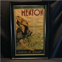 """MENTON, COTE D'AZUR"" VINTAGE FRAMED FRENCH POSTER, 44'' X 29 1/2'', SOME WATER DAMAGE"