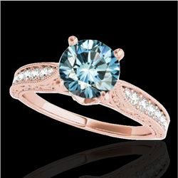 1.50 CTW SI Certified Fancy Blue Diamond Solitaire Antique Ring 10K Rose Gold - REF-221R8K - 34735