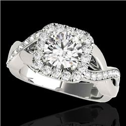 2 CTW H-SI/I Certified Diamond Solitaire Halo Ring 10K White Gold - REF-345W5H - 33316