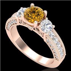 2.07 CTW Intense Fancy Yellow Diamond Art Deco 3 Stone Ring 18K Rose Gold - REF-254F5N - 37785