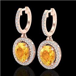 3.50 CTW Citrine & Micro Pave VS/SI Diamond Earrings Halo 14K Rose Gold - REF-83W6H - 20319