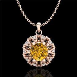 1.20 CTW Intense Fancy Yellow Diamond Art Deco Stud Necklace 18K Rose Gold - REF-134X5R - 37743