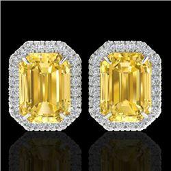 8.40 CTW Citrine & Micro Pave VS/SI Diamond Halo Earrings 18K White Gold - REF-73X3R - 21222