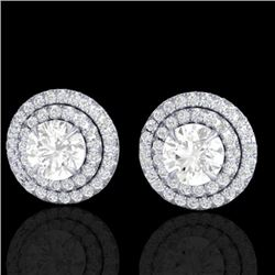 2 CTW Micro Pave VS/SI Diamond Certified Stud Earrings Double Halo 18K White Gold - REF-242W4H - 214