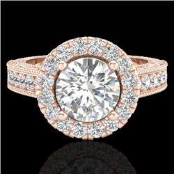 2.25 CTW Vintage VS/SI Diamond Engagement Halo Ring 14K Rose Gold - REF-541X8R - 21116