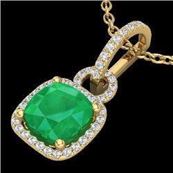 3 CTW Emerald & Micro VS/SI Diamond Certified Necklace 18K Yellow Gold - REF-70K9W - 22982