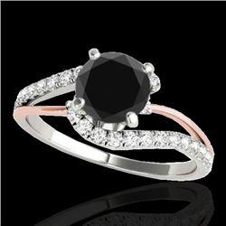 1.35 CTW Certified VS Black Diamond Bypass Solitaire Ring 10K White & Rose Gold - REF-62M2F - 35106