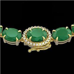 92 CTW Emerald & VS/SI Diamond Tennis Micro Pave Halo Necklace 14K Yellow Gold - REF-270Y2X - 23459