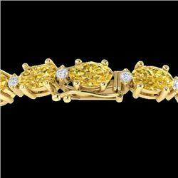 25.8 CTW Citrine & VS/SI Certified Diamond Eternity Bracelet 10K Yellow Gold - REF-118K4W - 29449