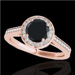 1.33 CTW Certified VS Black Diamond Solitaire Halo Ring 10K Rose Gold - REF-68V9Y - 33512