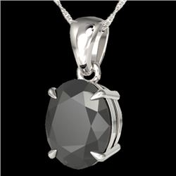5 CTW Black VS/SI Diamond Certified Designer Solitaire Necklace 18K White Gold - REF-161V8Y - 21855
