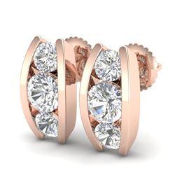 2.18 CTW VS/SI Diamond Solitaire Art Deco Stud Earrings 18K Rose Gold - REF-300X2R - 37011