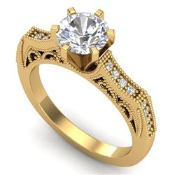 1.25 CTW VS/SI Diamond Art Deco Ring 18K Yellow Gold - REF-400K2W - 37075