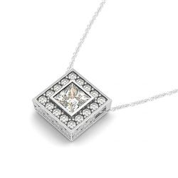 0.72 CTW Princess Certified VS/SI Diamond Solitaire Halo Necklace 14K White Gold - REF-119K8W - 3023