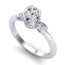 1 CTW VS/SI Diamond Solitaire Art Deco Ring 18K White Gold - REF-157F5N - 36851