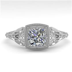 0.50 CTW Certified VS/SI Cushion Diamond Engagement Ring Deco 18K White Gold - REF-113H8M - 36027