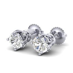 1.26 CTW VS/SI Diamond Solitaire Art Deco Stud Earrings 18K White Gold - REF-209M3F - 37019