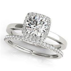 0.83 CTW Certified VS/SI Diamond 2Pc Wedding Set Solitaire Halo 14K White Gold - REF-124Y4X - 30729