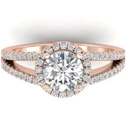 2 CTW Certified VS/SI Diamond Solitaire Micro Halo Ring 14K Rose Gold - REF-512W2H - 30379