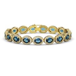 24.32 CTW London Topaz & Diamond Bracelet Yellow Gold 10K Yellow Gold - REF-256F7N - 40639