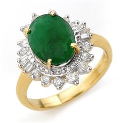 4.85 CTW Emerald & Diamond Ring 14K Yellow Gold - REF-100A2V - 13174