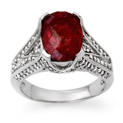4.75 CTW Rubellite & Diamond Ring 14K White Gold - REF-142A4V - 14095