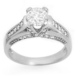 1.25 CTW Certified VS/SI Diamond Ring 14K White Gold - REF-186A4V - 11598