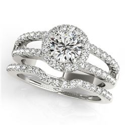 1.51 CTW Certified VS/SI Diamond 2Pc Wedding Set Solitaire Halo 14K White Gold - REF-188X5R - 30876