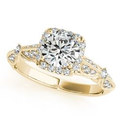 1.36 CTW Certified VS/SI Diamond Solitaire Halo Ring 18K Yellow Gold - REF-388N4A - 26529
