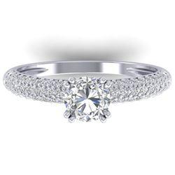 1.40 CTW Certified VS/SI Diamond Solitaire Art Deco Micro Ring 14K White Gold - REF-206X2R - 30411