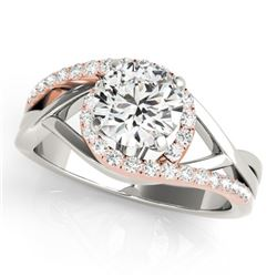 1.55 CTW Certified VS/SI Diamond Bypass Solitaire Ring 18K White & Rose Gold - REF-519H3M - 27692