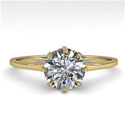 1.01 CTW Certified VS/SI Diamond Engagement Ring 18K Yellow Gold - REF-286K3W - 35743
