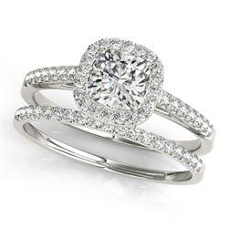 0.93 CTW Certified VS/SI Cushion Diamond 2Pc Set Solitaire Halo 14K White Gold - REF-142H2M - 31388