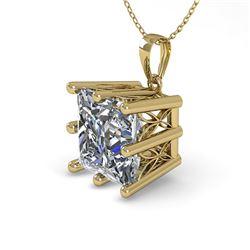 1 CTW Certified VS/SI Princess Diamond Necklace 18K Yellow Gold - REF-285X2R - 35869