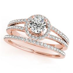1.10 CTW Certified VS/SI Diamond 2Pc Wedding Set Solitaire Halo 14K Rose Gold - REF-199N6A - 31077