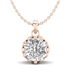 1.14 CTW VS/SI Diamond Solitaire Art Deco Stud Necklace 18K Rose Gold - REF-205W5H - 36843