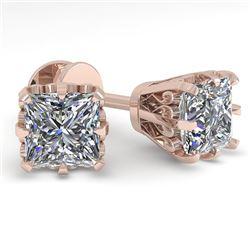 1.0 CTW VS/SI Princess Diamond Stud Solitaire Earrings 18K Rose Gold - REF-178X2R - 35672