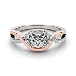 1.25 CTW Certified VS/SI Diamond 2 Stone Ring 18K White & Rose Gold - REF-209H3M - 28186