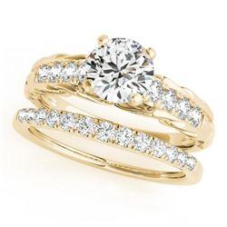 1.29 CTW Certified VS/SI Diamond Solitaire 2Pc Wedding Set 14K Yellow Gold - REF-374K9W - 31651