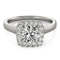 1.37 CTW Certified VS/SI Diamond Solitaire Halo Ring 18K White Gold - REF-393K5W - 26281