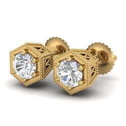 1.15 CTW VS/SI Diamond Solitaire Art Deco Stud Earrings 18K Yellow Gold - REF-174A5V - 37219
