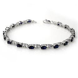 6.10 CTW Blue Sapphire & Diamond Bracelet 14K White Gold - REF-56H4M - 14031