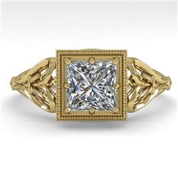 1.0 CTW VS/SI Princess Diamond Solitaire Engagement Ring Deco 18K Yellow Gold - REF-344Y4X - 36043